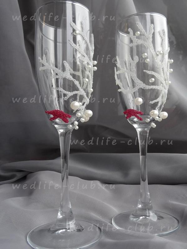"""Свадебные бокалы """"Кораллы"""""""