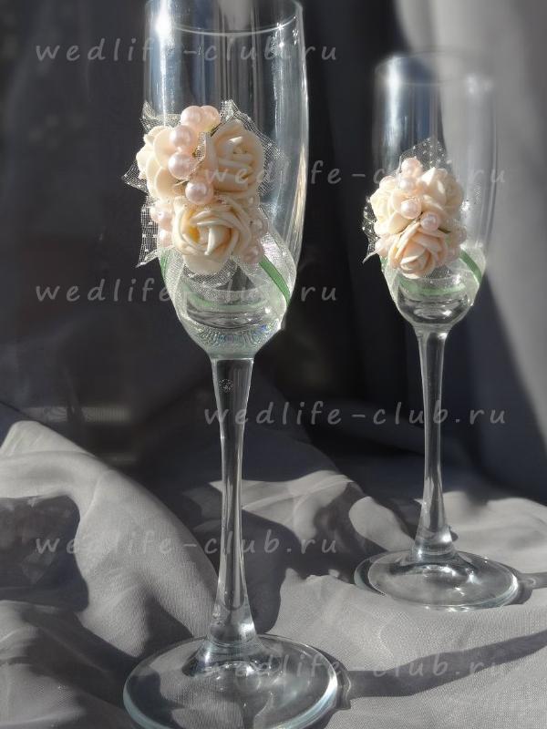 """Свадебные бокалы """"Розовый жемчуг"""""""